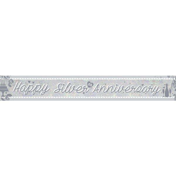 Happy Silver Anniversary Holographic Foil Banner
